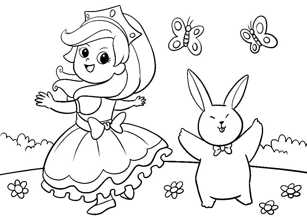 Ausmalbilder Ostern - Prinzessin tanzt auf einer Wiese