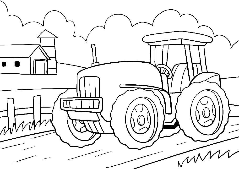 Ausmalbilder Bauernhof - Ein großer Traktor auf einer Farm
