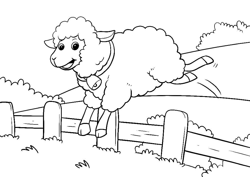 Schaf springt über Zaun