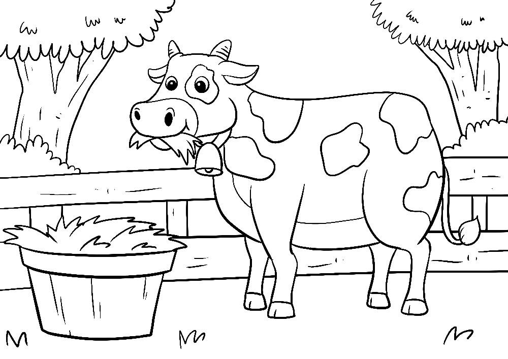 Ausmalbilder Bauernhof - Eine kleine Kuh auf einer Weide frisst ihr Futter