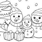 Schneemänner mit Geschenken im Schnee