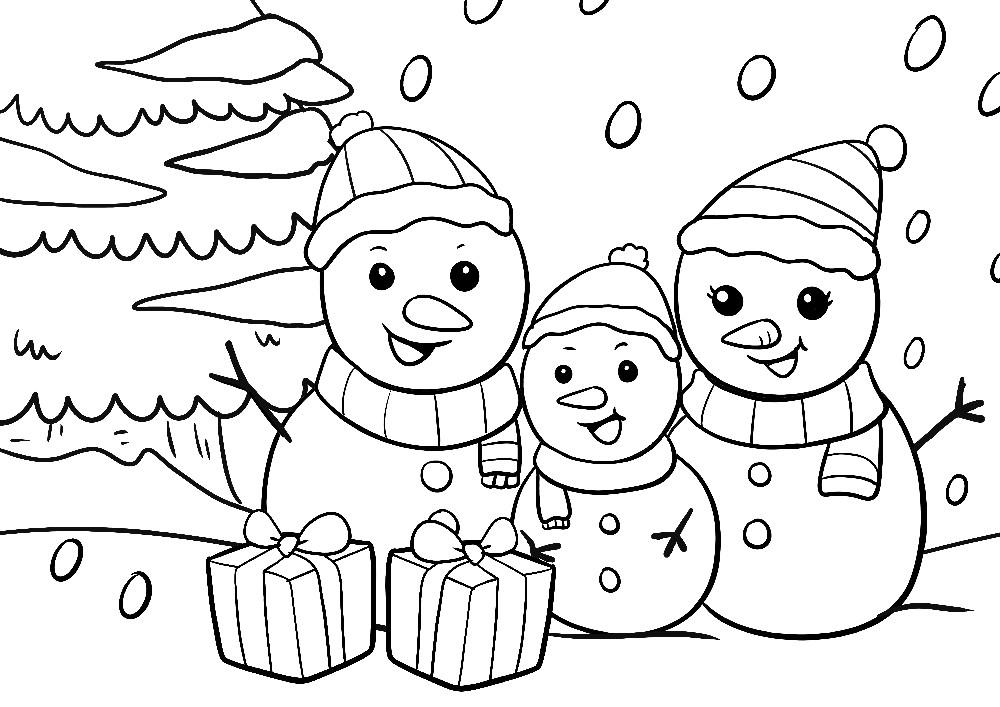 Ausmalbilder Weihnachten - Schneemänner mit Geschenken im Schnee