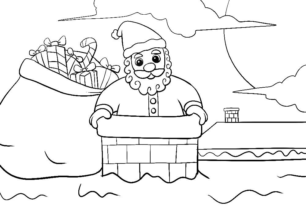Ausmalbilder Weihnachten Weihnachtsmann Mit Sack Im Schornstein