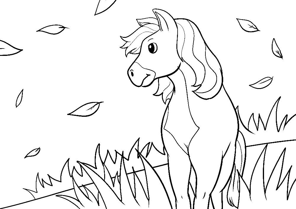 Ausmalbilder Pferde - Ein großes Pferd im Herbst steht allein auf einer Weide
