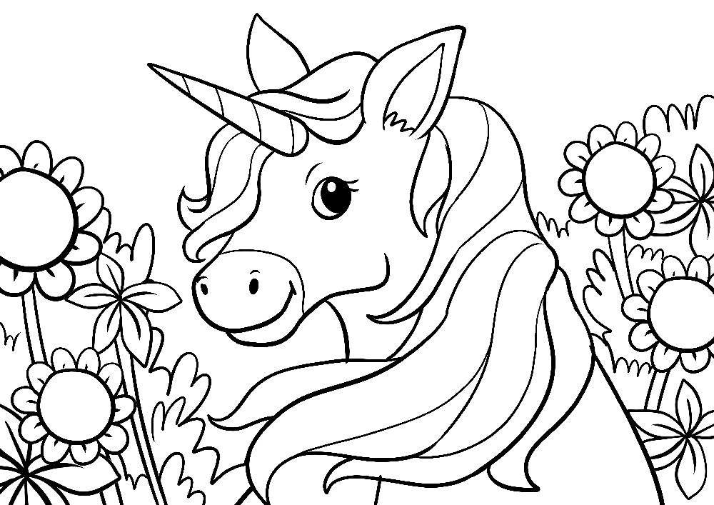 Einhorn in einer Blumenwiese
