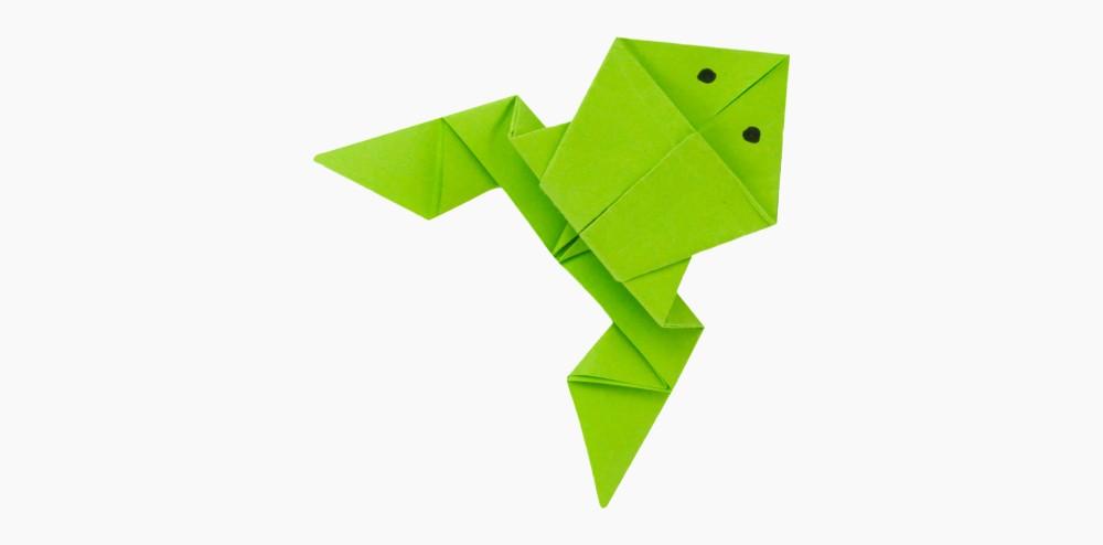 Hupfenden Origami Frosch Falten Anleitung Papierfrosch Basteln
