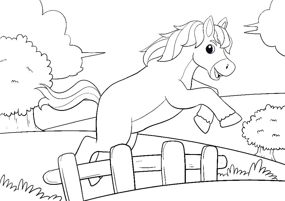 Ausmalbilder Tiere - Ein freches Pony am Ausbüchsen springt über den kleinen Zaun