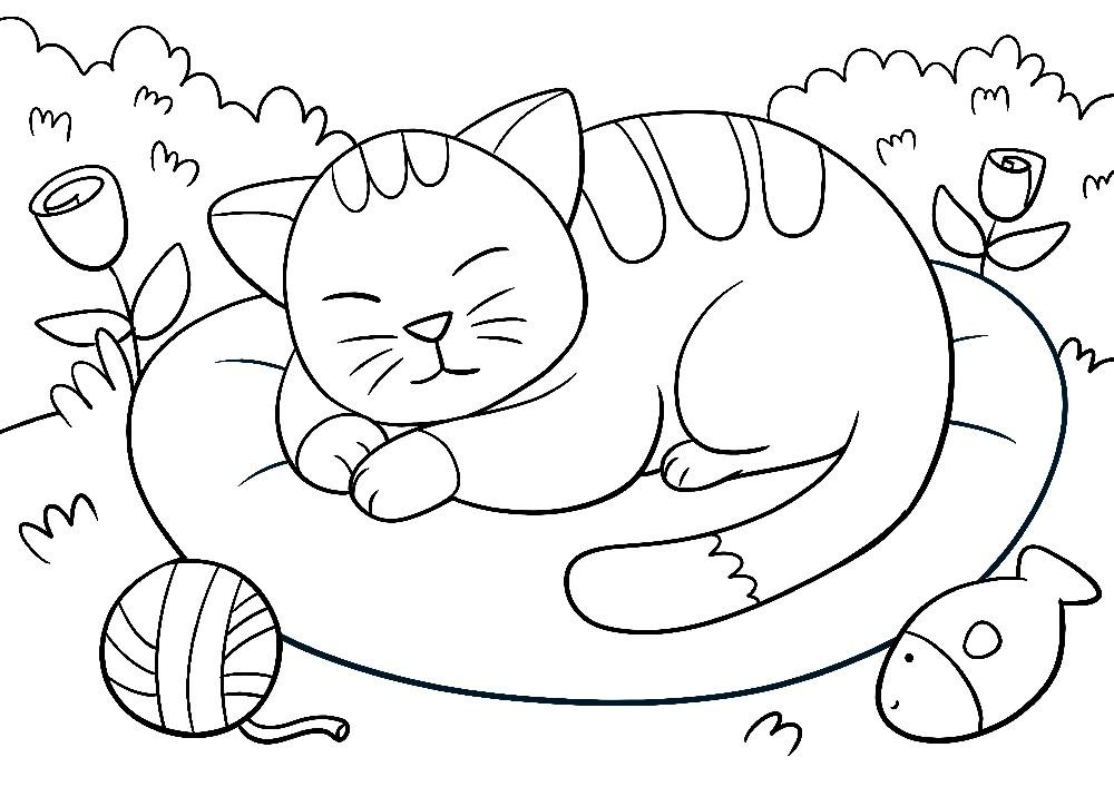 Ausmalbilder Tiere - Eine verspielte Katze ruht sich auf ihrem Kissen aus