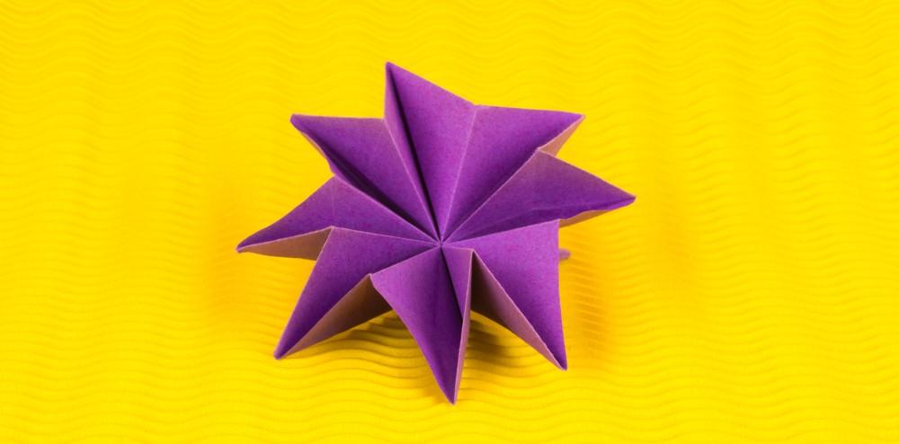 Berühmt Wunderschöne 3D Origami Blume falten - Anleitung von Einfach Basteln PU74