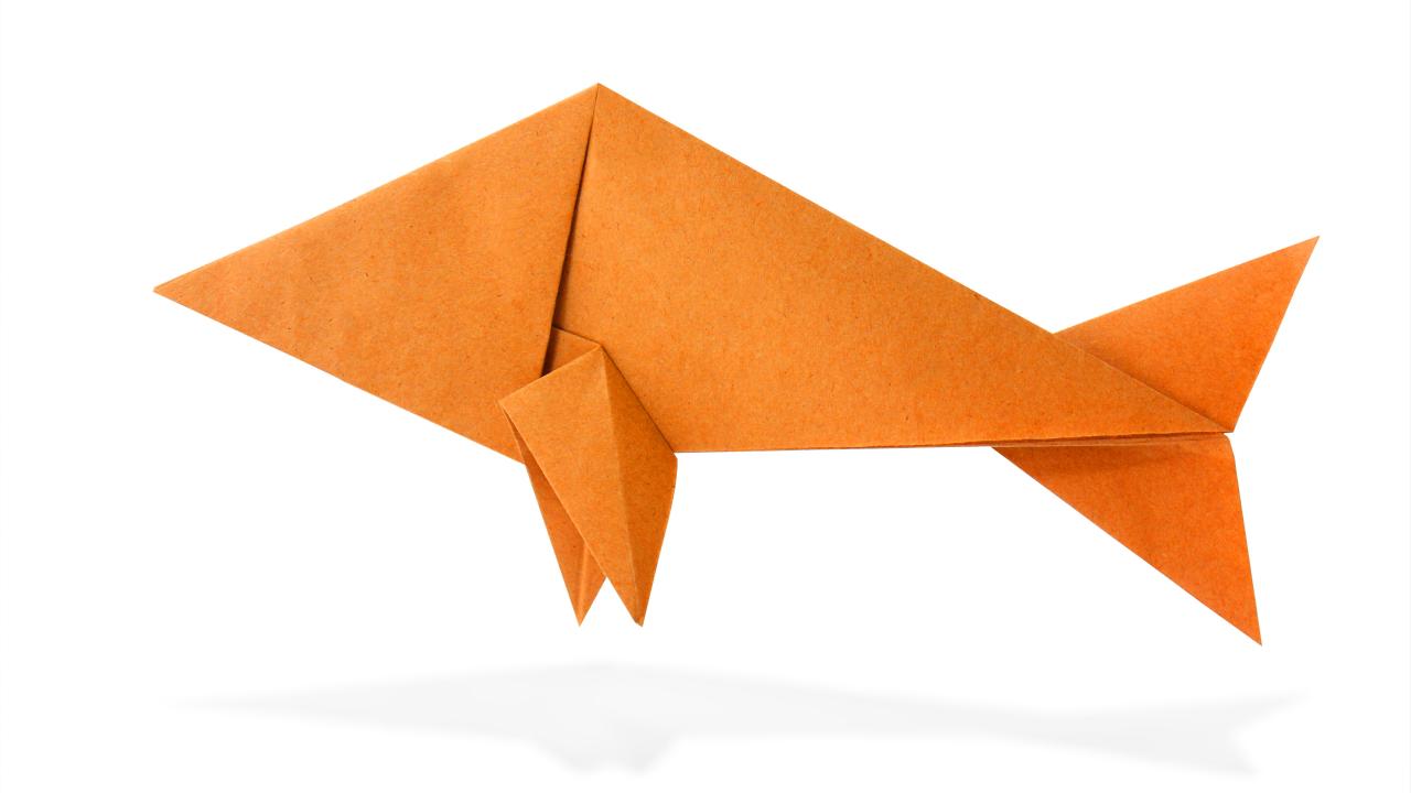 Beliebt Origami Fisch falten Anleitung - Raubfisch falten - Dauer 10 Minuten » MO74