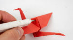 Den Origami Kranich befestigen - Schritt 1 - Mobile selber basteln