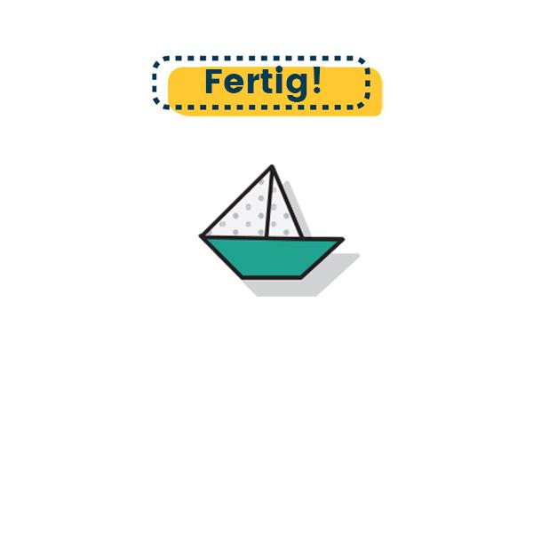 Origami Boot falten fertig