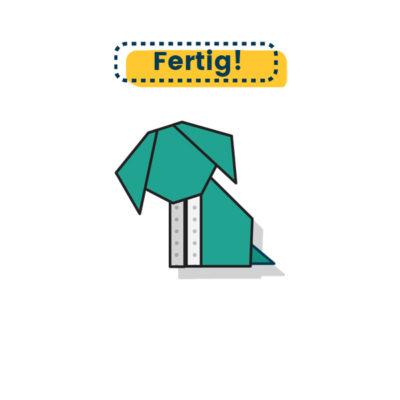Origami Hund falten fertig