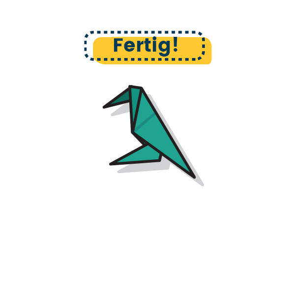 Origami Krähe falten fertig