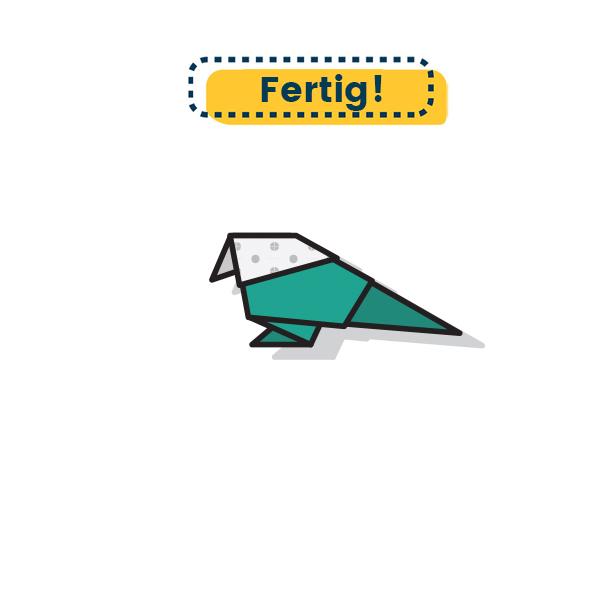 Origami Vogel falten - Fertig